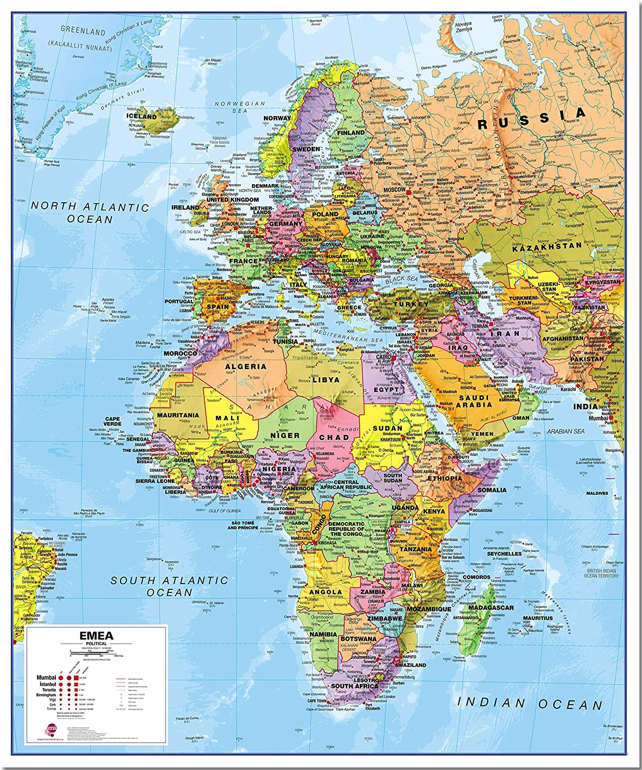Map Of Europe And Africa Amazon.: Maps International Political Europe Middle East