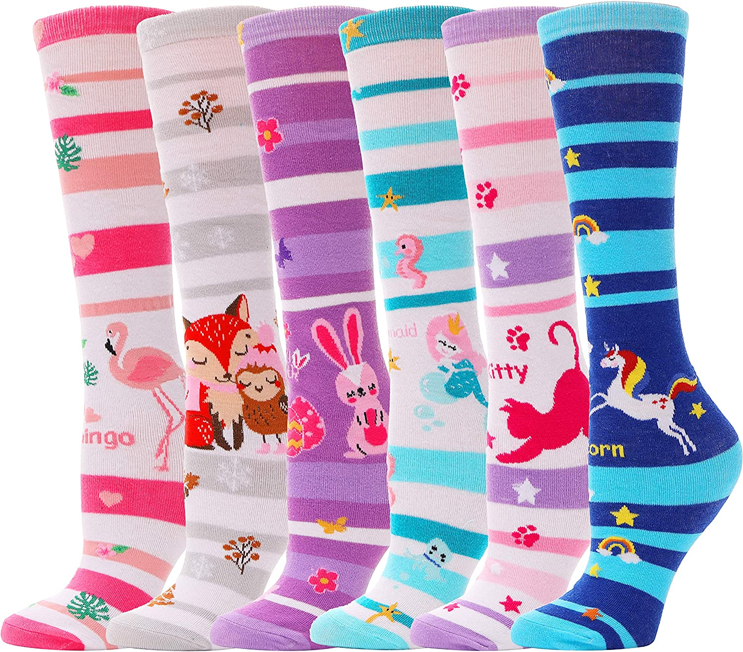3-12 Y Girls Knee High Socks for Child 6 Pairs Boot Fun Crazy Long Tall Funny Animal Colorful Kids Socks
