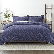 طقم ملاءات سرير مكون من 3 قطع من سيمبلي سوفت بريميوم بنمط أزهار منتصف الليل، حجم مزدوج جدًا، أزرق داكن