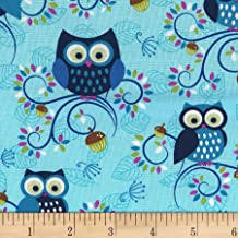 Michael Miller Fantasy Woods Little Happy Hooters Aqua Fabric by The Yard