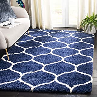 Safavieh Hudson Shag Collection SGH280C Navy and Ivory Moroccan Ogee Plush Area Rug (4' x 6')