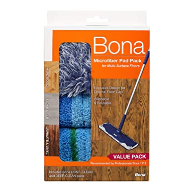 Bona Multi-Surface Floor Microfiber Cleaning Pads, 3 Pack