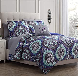 Amrapur Overseas Cathedral 8-Piece Printed Reversible Bed in A Bag, Queen, Purple/Grey/Teal