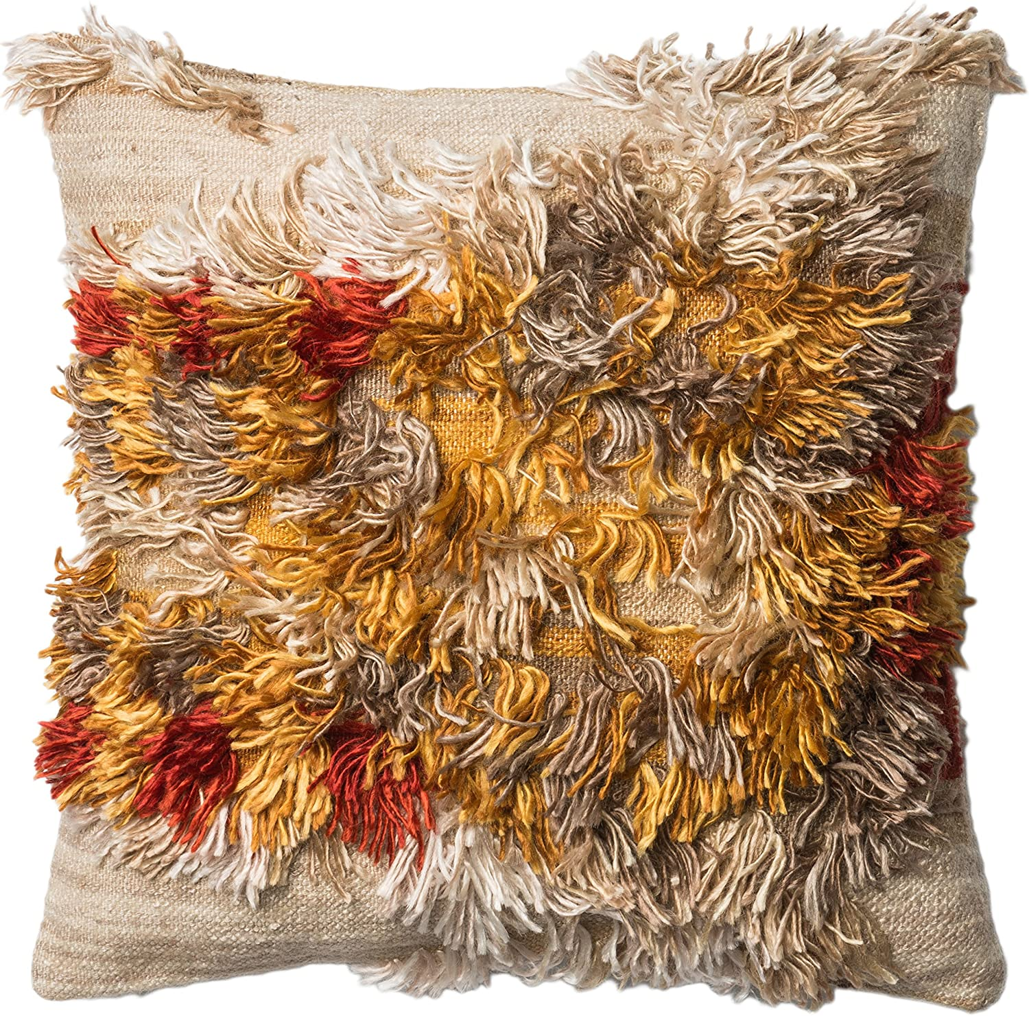 Loloi Loloi-DSETP0413CASSPIL3-Camel Decorative Accent Pillow 22  x 22  Mostly Wool Cover with Down Fill, 22  x 22 , Camel Sunset
