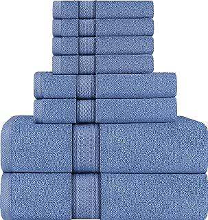 Utopia Towels 8 Piece Towel Set, Wedgewood, 2 Bath Towels, 2 Hand Towels, and 4 Washcloths