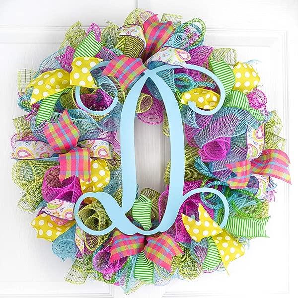 Monogram Summer Wreath Spring Monogram Door Wreath Pink Turquoise Yellow Green P1