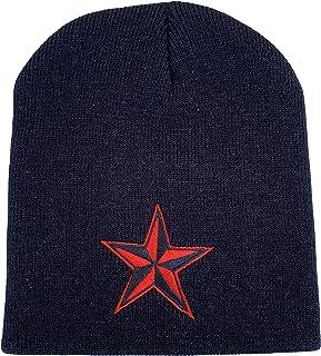 Nautica Star Beanie Caps Cap Knitting Hat Warm Winter Hedging Cap for Men Women Black Red