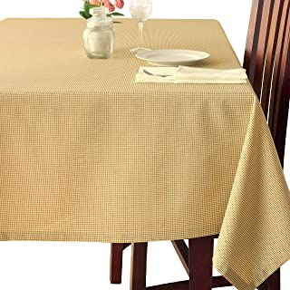 Poly-Cotton Linen Oblong Brown Tablecloth Stain Resistant French Rectangular & Square Kitchen Table Cloth – Dinner Table Christmas New Year Eve Easter Dinner Gift(Brown Checkered, Rectangle 60