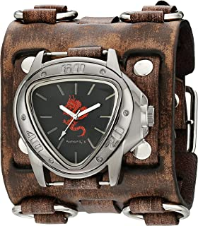 Nemesis Men's Red Dragon Series Brown Faded Wide Detail Leather Cuff Analog Display Japanese Quartz Watch