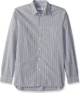 Lacoste Men`s Long Sleeve Bengal Stripe Poplin Collar Reg Fit Woven Shirt, CH5382