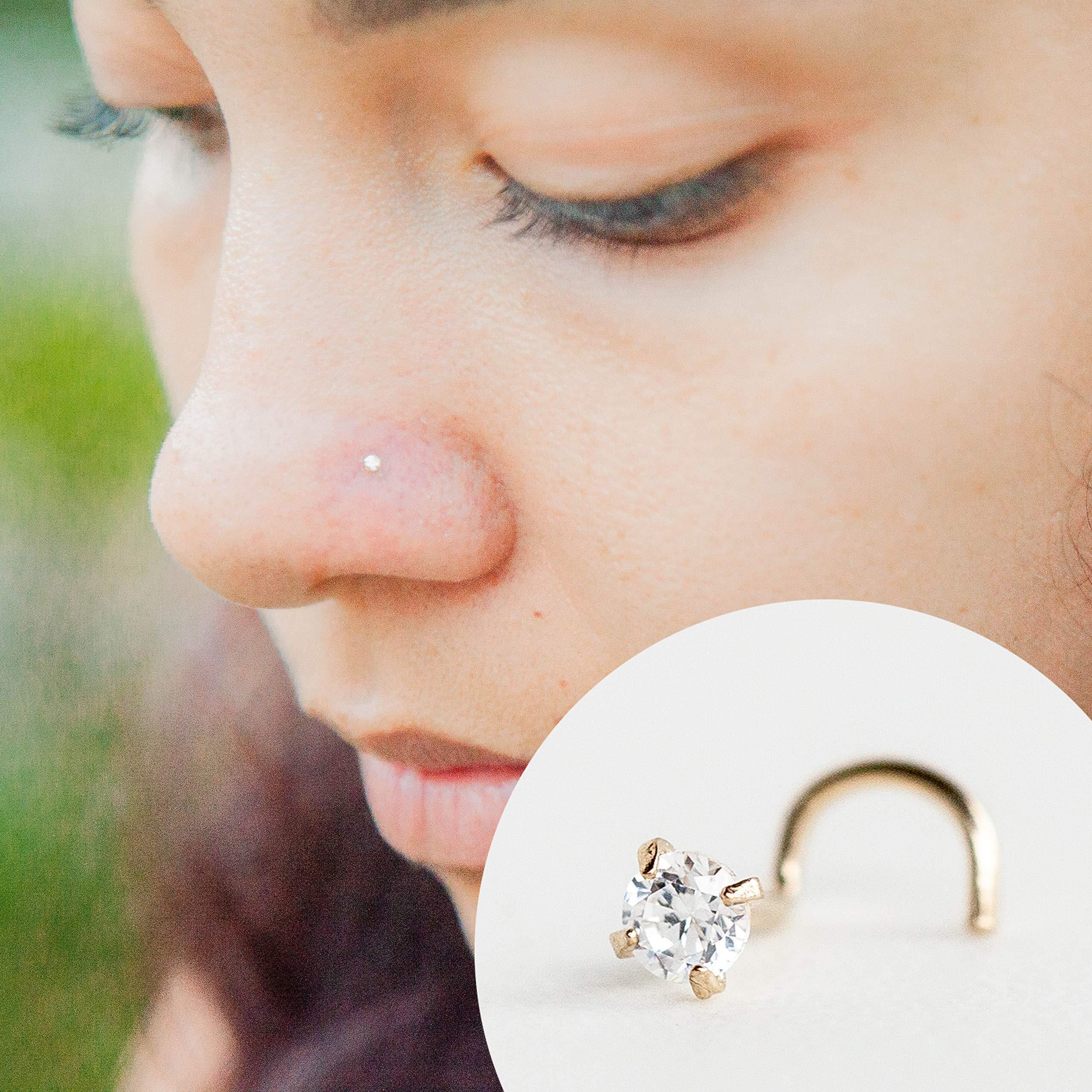 Cubic Zirconia Nose Ring Solid 14k Yellow Gold Handmade 22 Gauge