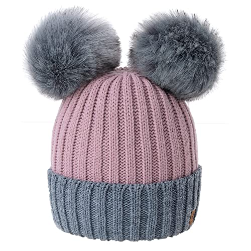 e609114d3d4 4sold Miki Colour Womens Girls Winter Hat Wool Knitted Beanie with Double Pom  Pom Cap Ski