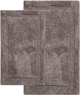 Saffron Fabs 2 Piece Bath Rug Set, 100% Soft Cotton, Size 24x17 Inch and 34x21 Inch, Latex Spray Non-Skid Backing, Solid Gray Color, Textured Border, Hand Tufted, 190 GSF Weight, Machine Washable