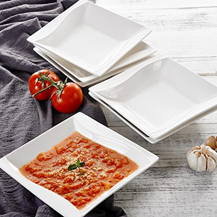 Preisvergleich für MALACASA, Serie Carina, 12 teilig Set Cremeweiß Porzellan Suppenteller 8 Zoll / 20,5x20,5x4,5 cm für 12 Personen