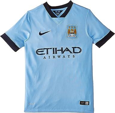NIKE Manchester City Home Short Sleeve Manchester City Home - Camiseta de Manga Corta para niño (Talla S), Color Azul Niños
