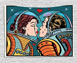 Ambesonne Love Tapestry, Space Man and Woman Astronauts Kissing Science Cosmos Couple Pop Art Design Print, Wide Wall Hanging for Bedroom Living Room Dorm, 80
