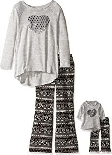 Dollie & Me Girls' Knit Tunic with Sequin Heart and Nordic Flare Legging