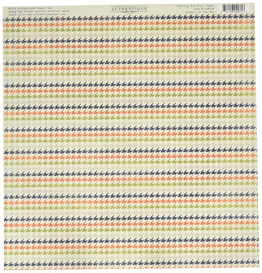 Authentique Paper DAB004 18 Sheet Darling Boy Vintage Alphabet/Multi Hounds Tooth Double-Sided Cardstock, 12