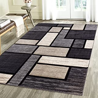 Contemporary Squared Geometric Emerald Collection Carved Area Rug by Rug Deal Plus (4' x 5'6