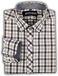SPOTLIGHT Men's Slim-Fit Long-Sleeve Plaid Shirt
