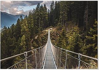 Panorama Póster Puente Colgante 100 x 70 cm - Láminas Decorativas Pared - Impreso en Papel 250gr - Cuadros Paisajes - Póster Naturaleza - Cuadros Decoración Salón
