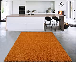 """Sweet Home Stores Cozy Shag 2nd Collection Solid Shag Rug (5'0""""X7'0""""), Orange"""