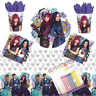 Descendants 2 Party Supplies Pack Serves 16: Dinner Plates Luncheon Napkins Cups and Table Cover with Birthday Candles (Bundle for 16)