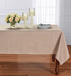 HOMCHIC Faux Linen Square Table Cloth - Washable, Spillproof, Easy Care, Wrinkle Resistant, Thick Indoor and Outdoor Tablecloth, Premium Polyester Fabric-60x60 Inches-Square-Light Brown