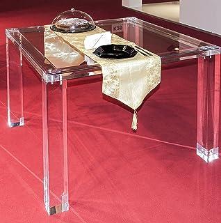 Ahtoplex PLEXILAND - Table de salle à manger en cristal acrylique avec plateau en verre trempé, 100 x 100 cm (H) 75 cm