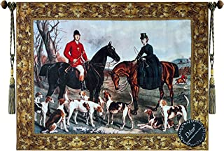 fox hunting scene fabric