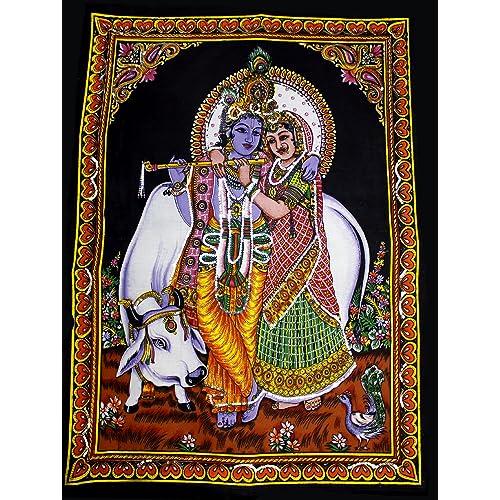 Lord Krishna Radha Indian Deity Sequin Batik Cotton Wall Tapestry 40