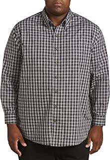 Harbor Bay by DXL Big and Tall Grid-Pattern Sport Shirt