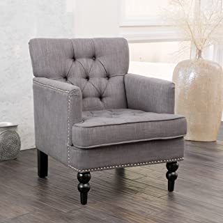 Christopher Knight Home Tufted Club, Decorative Accent Chair with Studded Details-Grey, Beige