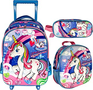 3D UNICORN 4 WHEEL TROLLEY BAG WITH BACKPACK FOR KIDS BOYS AND GIRLS INCLUDE LUNCH BAG AND PENCIL CASE/POUCH (UNICORN)