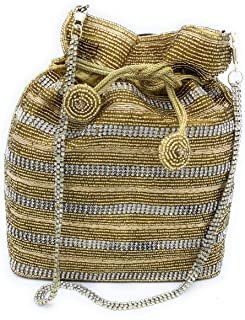 WOMEN'S DESIGNER ELEGANT ROYAL HANDMADE POTLI BAG/HANDBAG/PURSE/CLUTCH BAG ADORA ACI 092 SILVER-GOLD