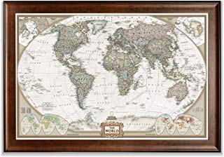 Renditions Gallery Frame Executive National Geographic World Travel Map with Push Pins, Wall Art for Living Room, Bedroom, Office, Dark Walnut, 28x40,