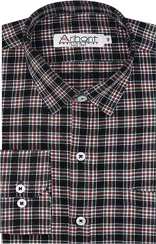 GHPC Checkered Cottswool Winter Wear Woolen Full Sleeves Regular Fit Formal Shirt For Men