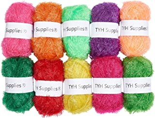 TYH Supplies 10 Skeins Scrubbing Dish Scrubber Yarn Assorted Colors for Crochet & Knitting Multi Pack Variety Colored Assortment 66 Yards Each Skein