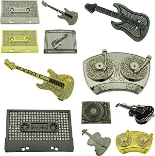 12 Pcs Music Guitars Turntable Cassette Boombox Belt Buckle Wholesale Lot Bling