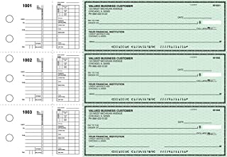 Business Checks, 3 to a Page Green Safety Multipurpose Checks, 300 Single Checks