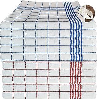 MTEXT Lot de 10 torchons de cuisine 100 % coton - 5 bleus et 5 rouges à carreaux - 50 x 70 cm - 65 g (bleu et rouge)