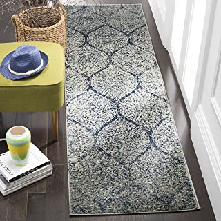 Safavieh Madison Collection MAD604G Navy and Silver Distressed Ogee Runner (2'3