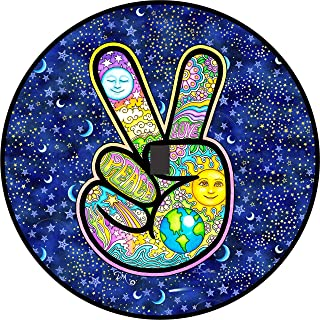 TIRE COVER CENTRAL Peace Sign Hand Earth Love Sun Moon Spare Tire Cover with Back up Camera Opening for Jeep JL JLU(245/75r17 Back up Camera, Black) Dan Morris(c)