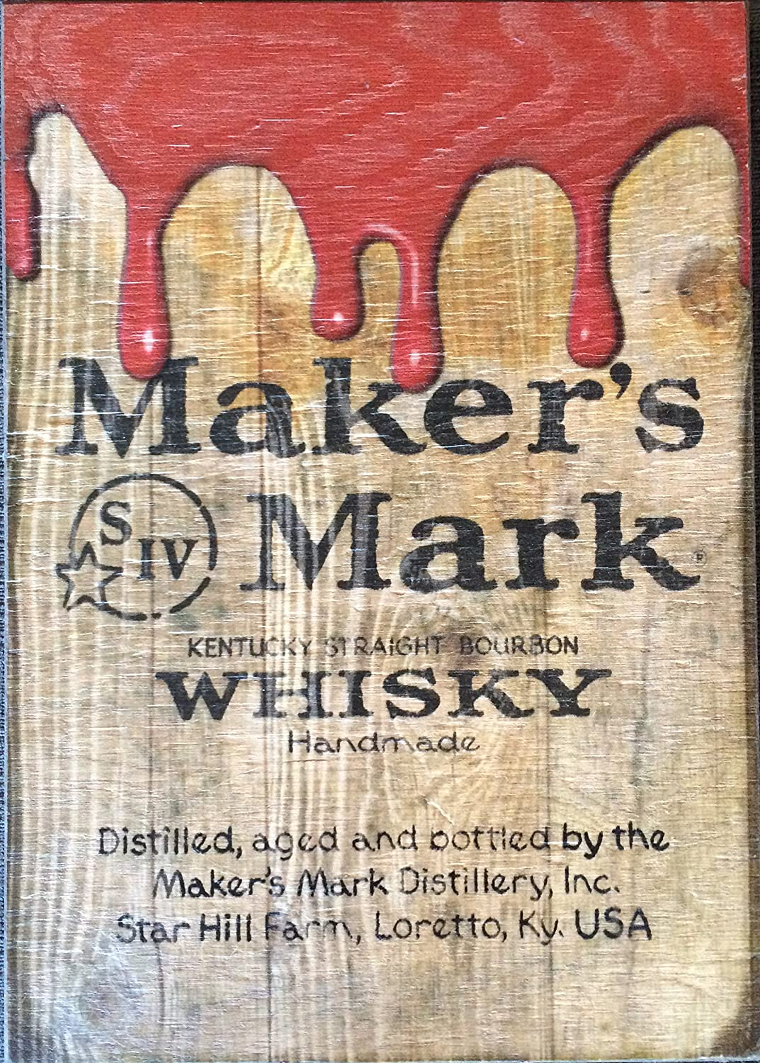 Maker's Mark Wooden Drip Pub Sign