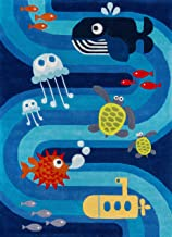Momeni Rugs Lil' Mo Whimsy Collection, Kids Themed Hand Carved & Tufted Area Rug, 4' x 6', Multicolor Ocean Animals on Blue