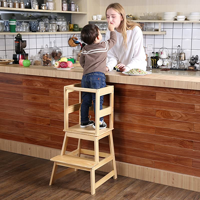 SDADI Kids Kitchen Step Stool With Safety Rail CPSC Certified For Toddlers 18 Months And Older Natural LT01N