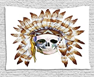 Ambesonne Skulls Decorations Collection, Native American Skull Indigenous Dead Man Watercolor Image with Feathers Ethnic, Bedroom Living Room Dorm Wall Hanging Tapestry, 60 X 40 Inches, Brown White