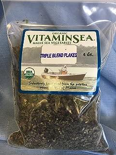 VITAMINSEA Organic Seaweed Blend Dulse - Kelp - Sea Lettuce - 4 oz / 112 G Triple Flakes - Vegan - Kosher - DIY Furikake for Keto Diet - Maine Seacoast Sun Dried Raw Atlantic Sea Vegetables (TF4)