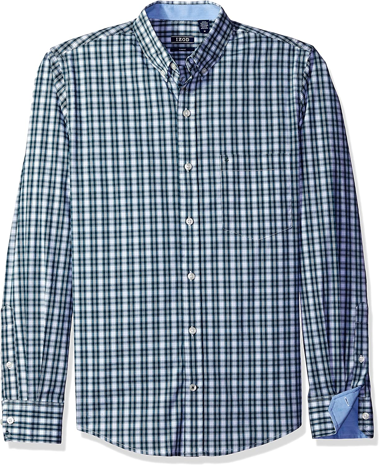 IZOD Men's Slim Spasm price Button Down Sleeve Performance Cheap mail order sales Chec Stretch Long