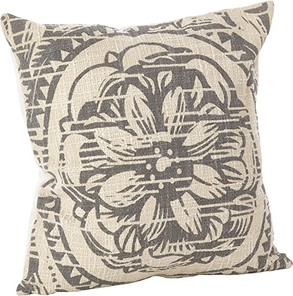 SARO LIFESTYLE Montpellier Collection Floral Distressed Design Down Filled Cotton Throw Pillow 0008 GY20S 20 Grey